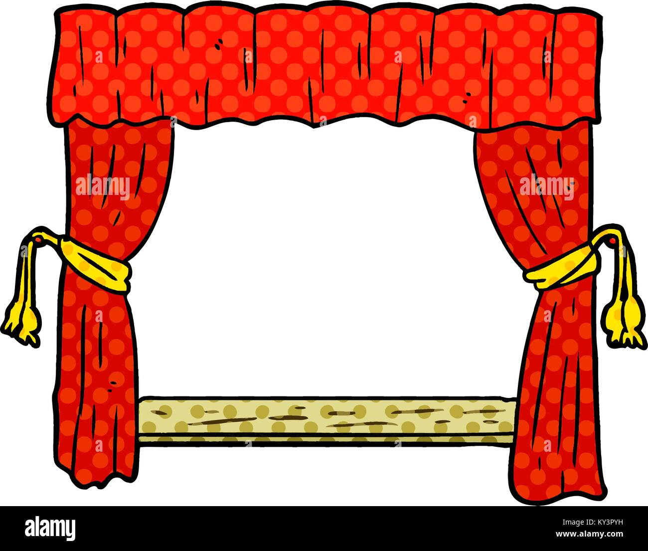 Cartoon Curtains Opening Onto Stage