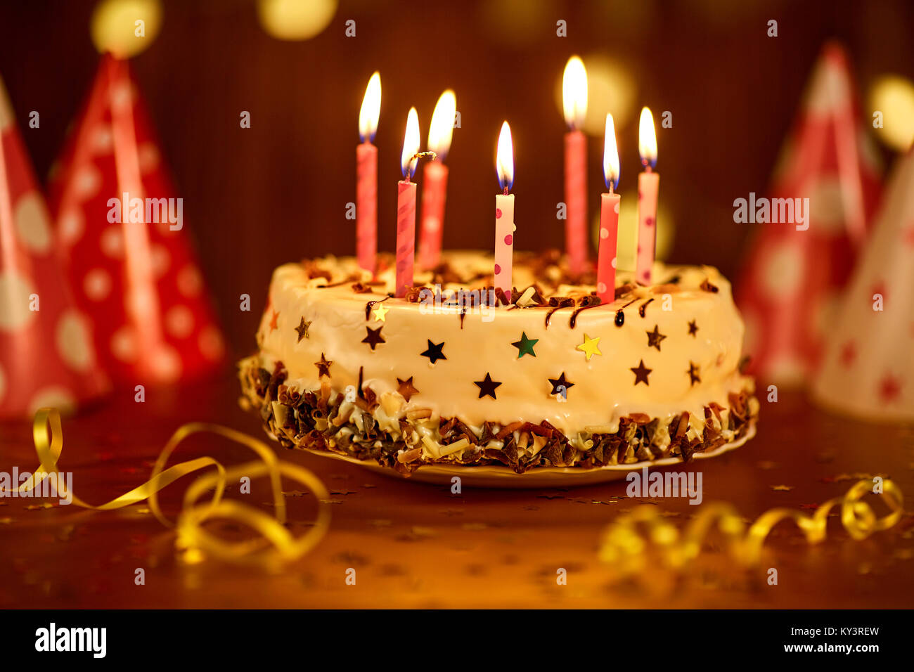 Amazing Happy Birthday Cake With Candles Stock Photo 171573329 Alamy Personalised Birthday Cards Veneteletsinfo