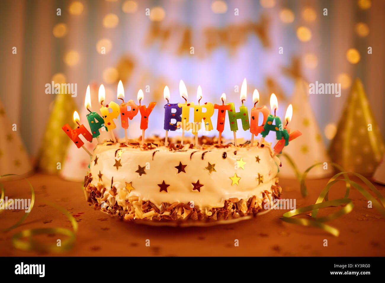 Outstanding Happy Birthday Cake With Candles Stock Photo 171573360 Alamy Funny Birthday Cards Online Elaedamsfinfo