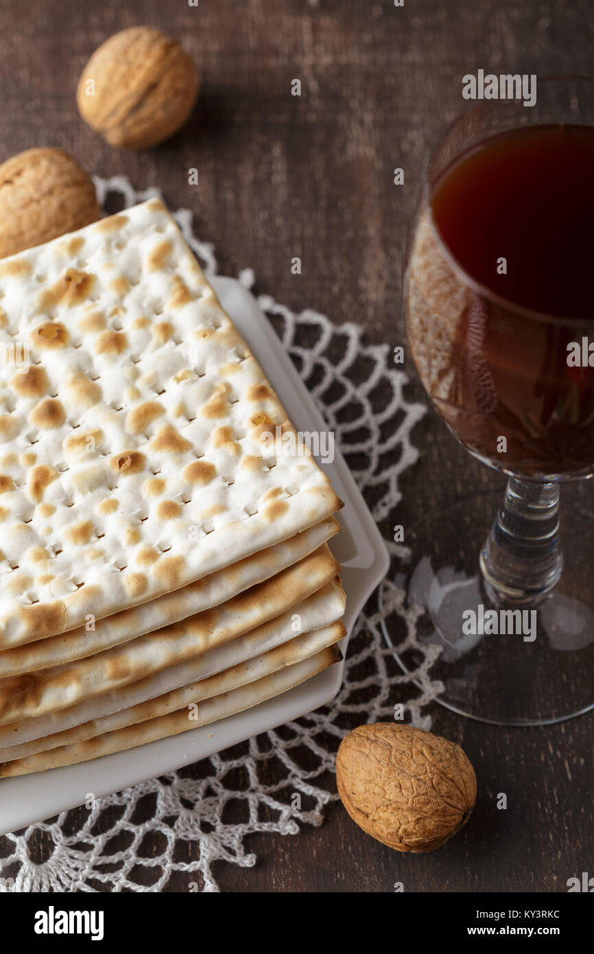 A Jewish Matzah bread with wine. Passover holiday concept - Stock Image