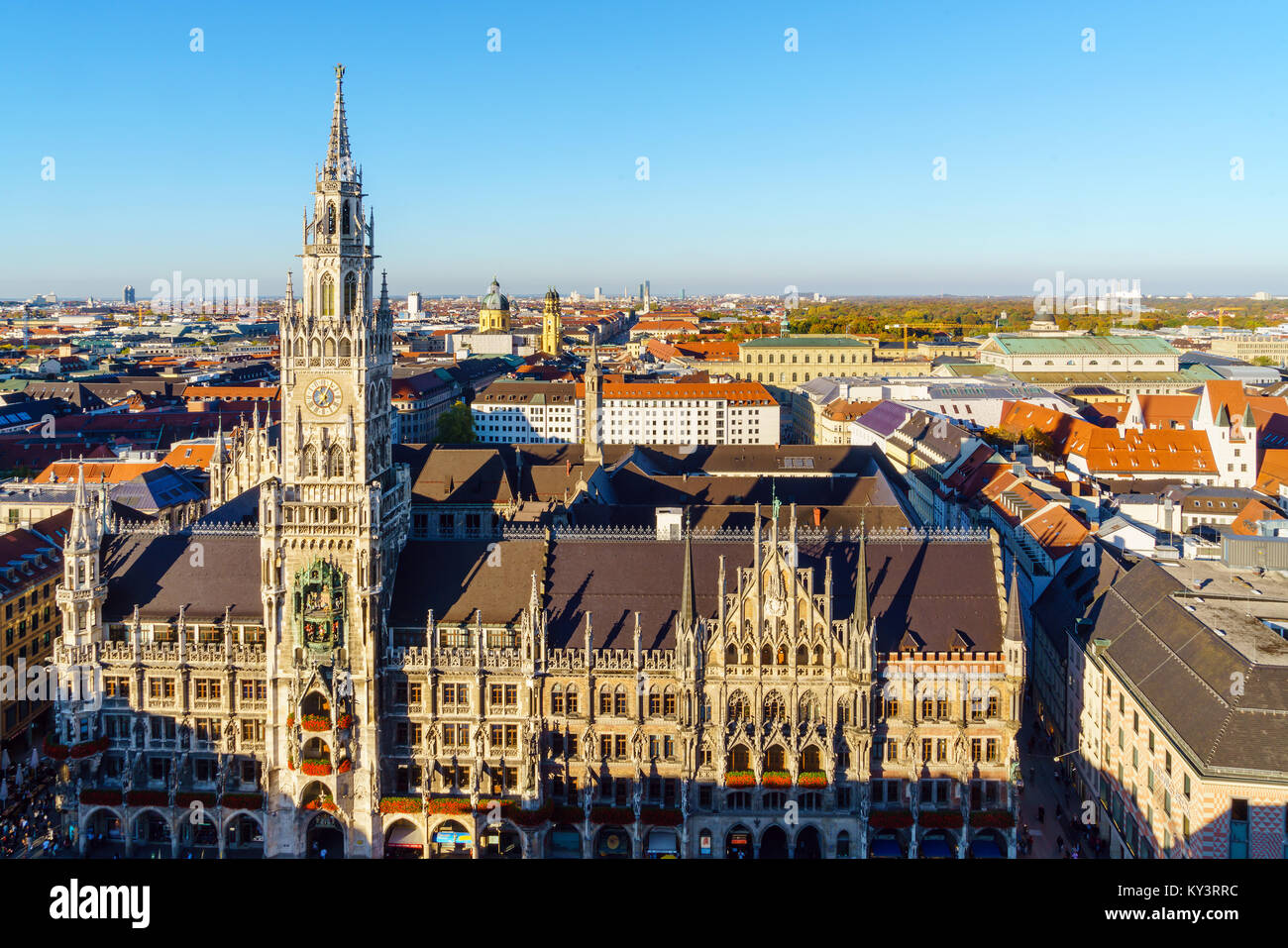 Aerial view of The New Town Hall and Marienplatz before sunset, Munich city, Bavaria, Germany - Stock Image