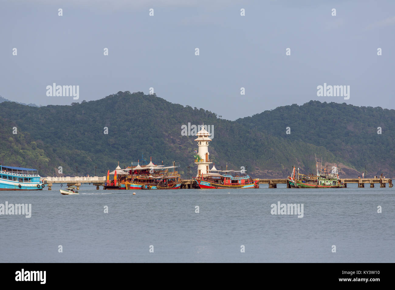 Lighthouse on a pier on Koh Chang Island in Thailand - Stock Image