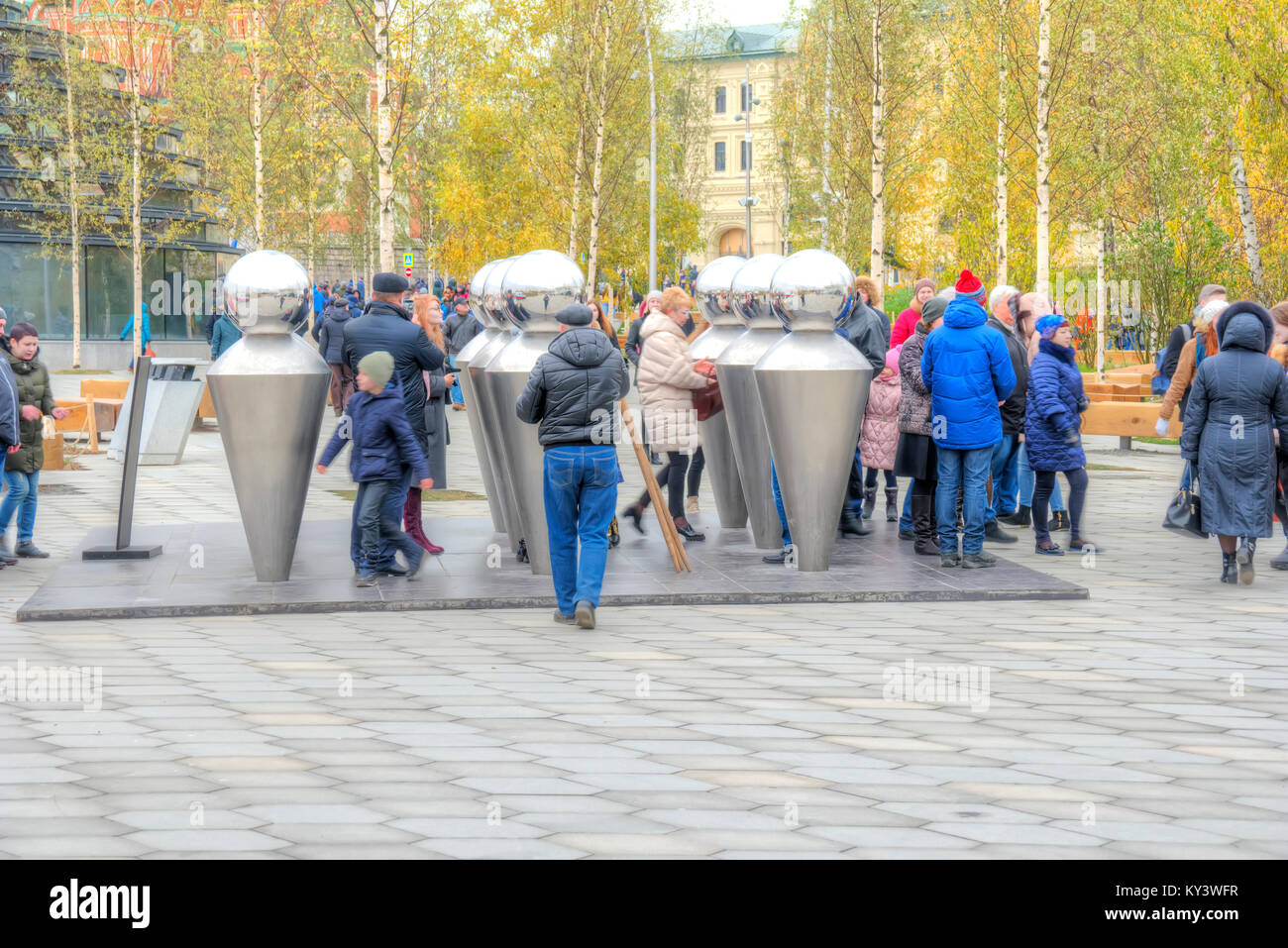 MOSCOW, RUSSIA - November 04.2017: Zaryadye Park Visitors having fun in funny installation Echo - Stock Image