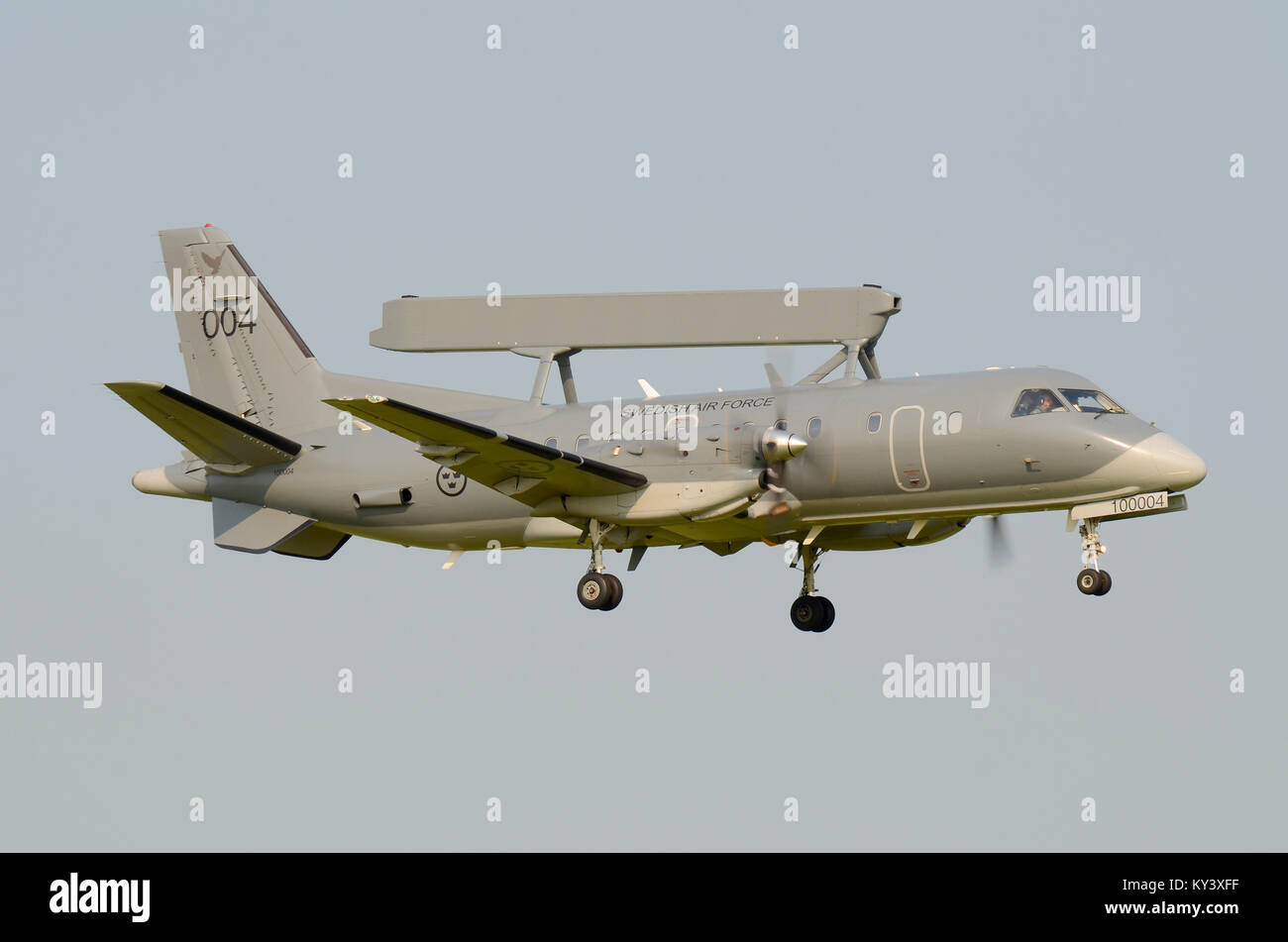 Swedish Air Force Saab 340 AEW&C S100B Argus 100004 (cn 395) Airborne Early Warning & Control aircraft coming - Stock Image