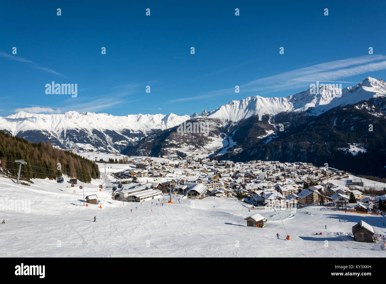 view on the village fiss in the ski resort serfaus fiss ladis in