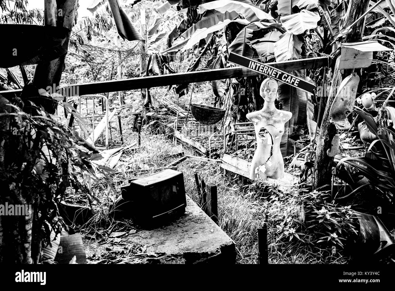 Internet cafe in the jungle, black and white - Stock Image