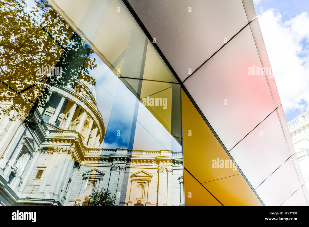 Amazing reflection of St Paul's Cathedral, London. Stock Photo