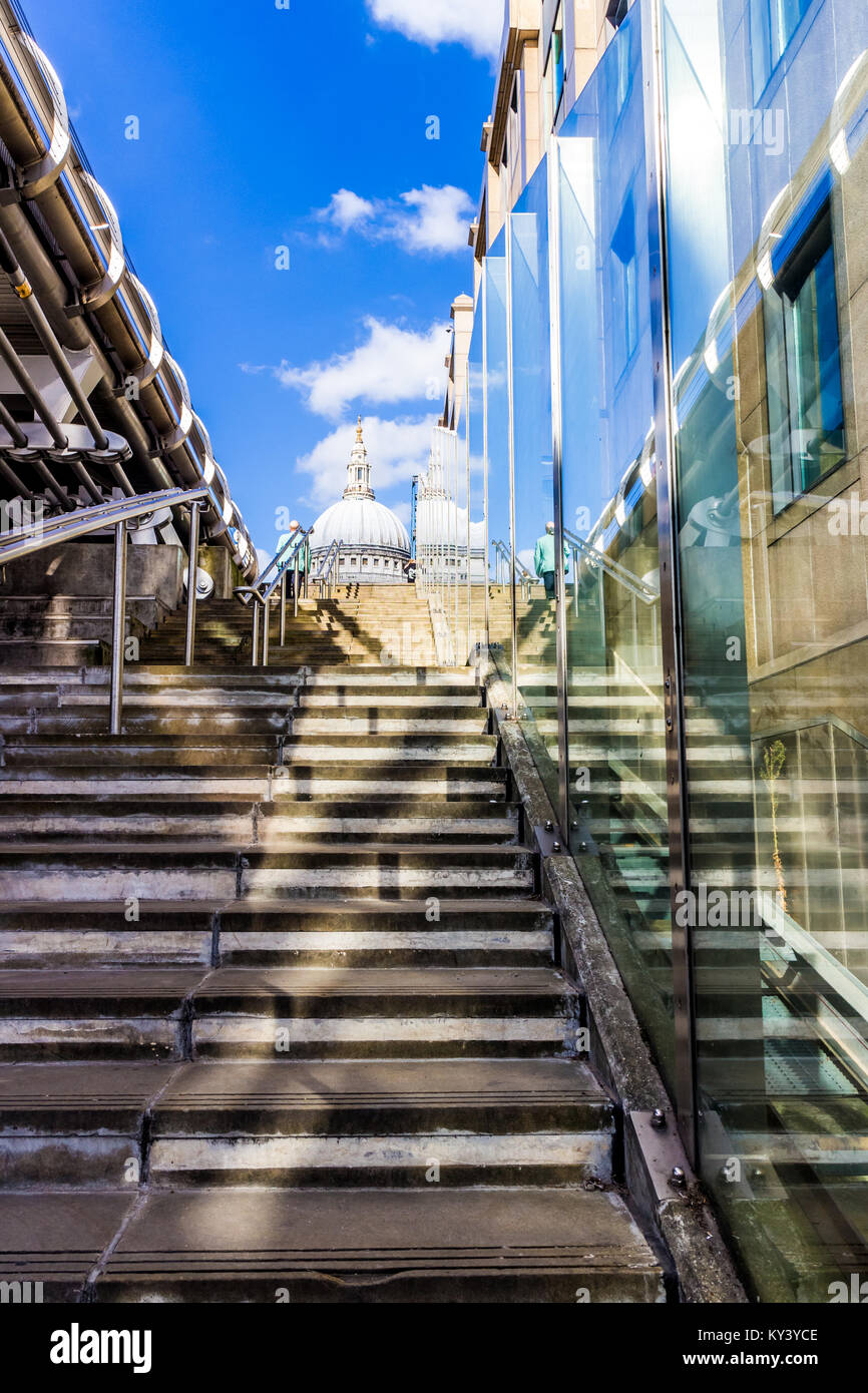 Steps up to St Paul's Cathedral, London. Stock Photo