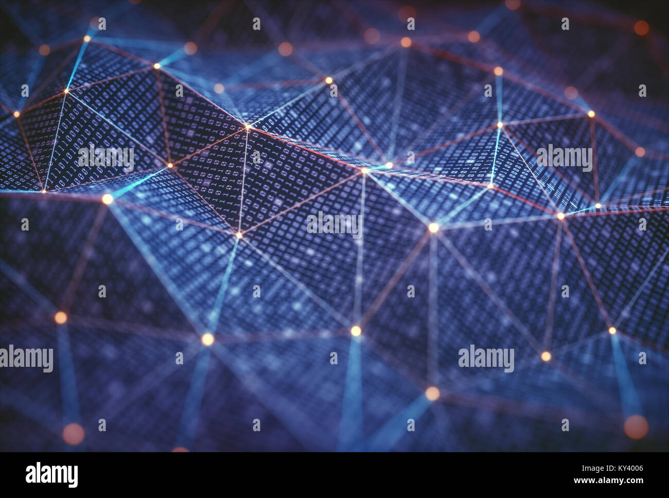 3D illustration, abstract background, technology concept. Binary surfaces interconnected by connections to data - Stock Image