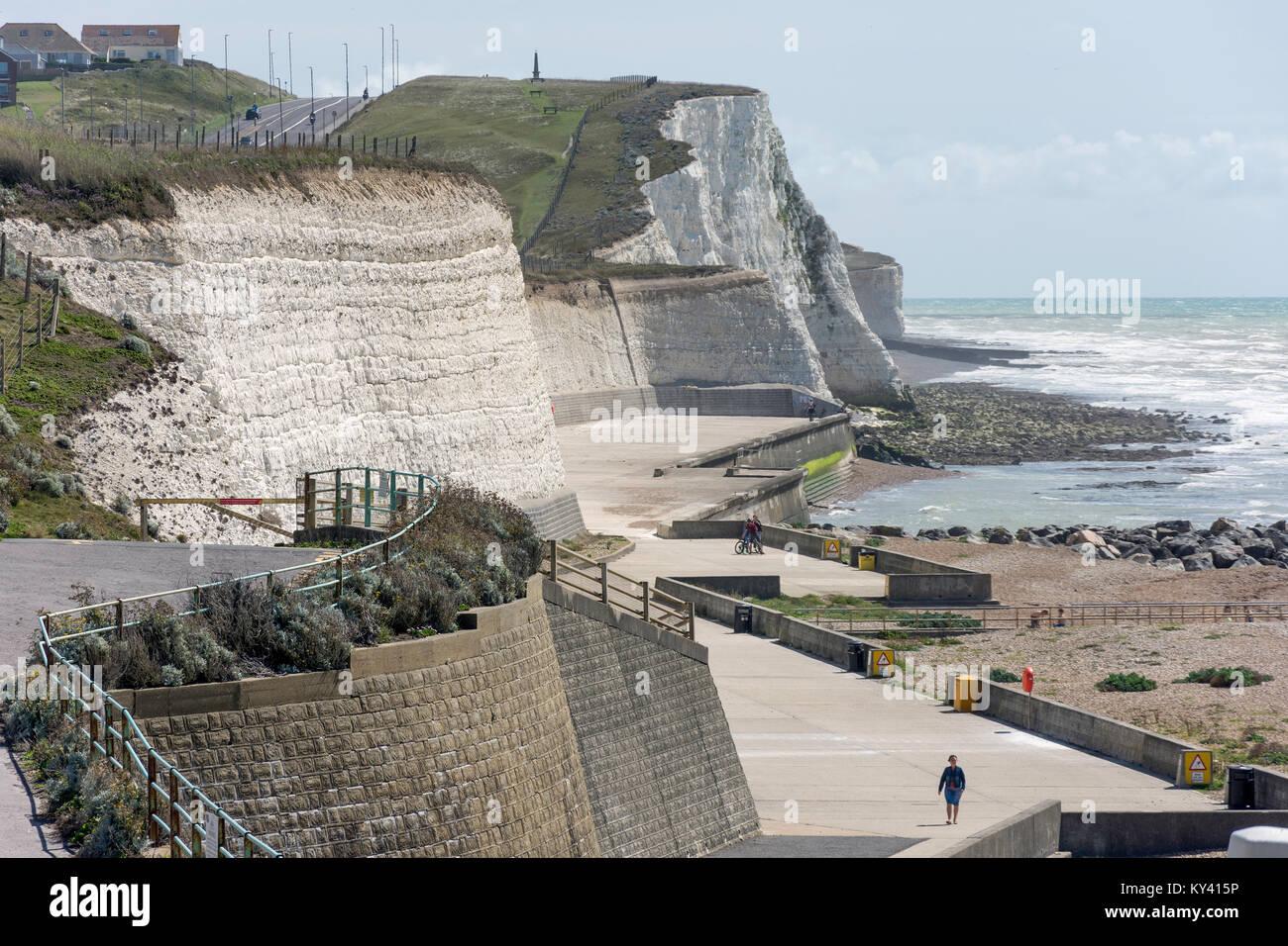 Beach promenade and Undercliff Walk, Saltdean, East Sussex, England, United Kingdom - Stock Image