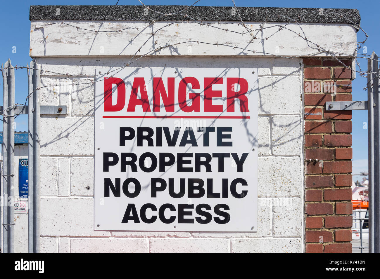 Danger, no public access sign, West Quay, Newhaven, East Sussex, England, United Kingdom - Stock Image