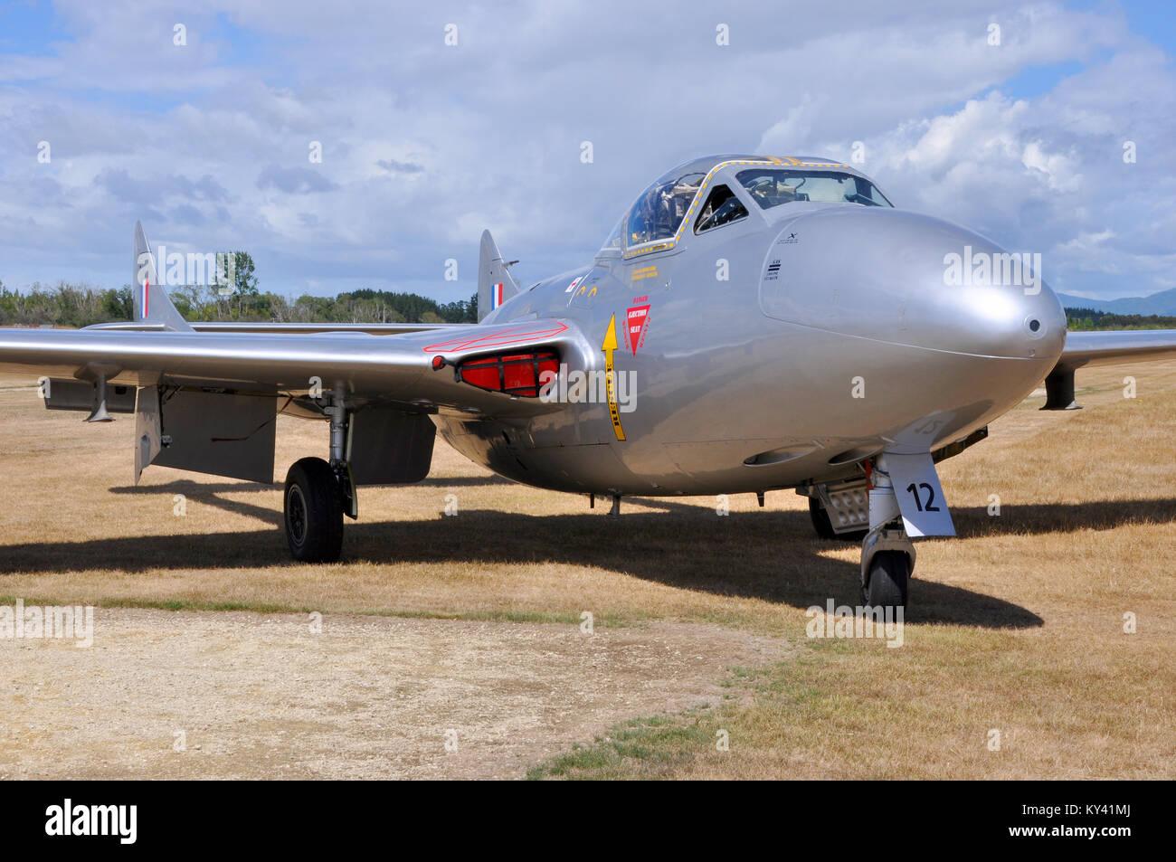 de Havilland Vampire at Wings over Wairarapa airshow Hood Aerodrome Masterton New Zealand. Parked on the grass. - Stock Image