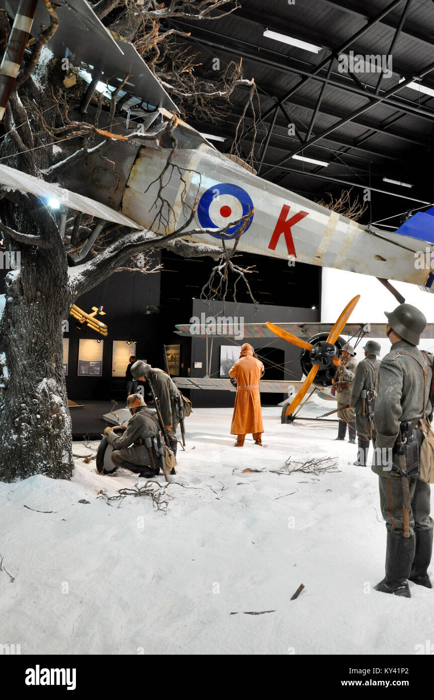 RAF / RFC biplane crash scene in a Knights of the Sky diorama in Omaka Aviation Heritage Centre museum, South Island, - Stock Image