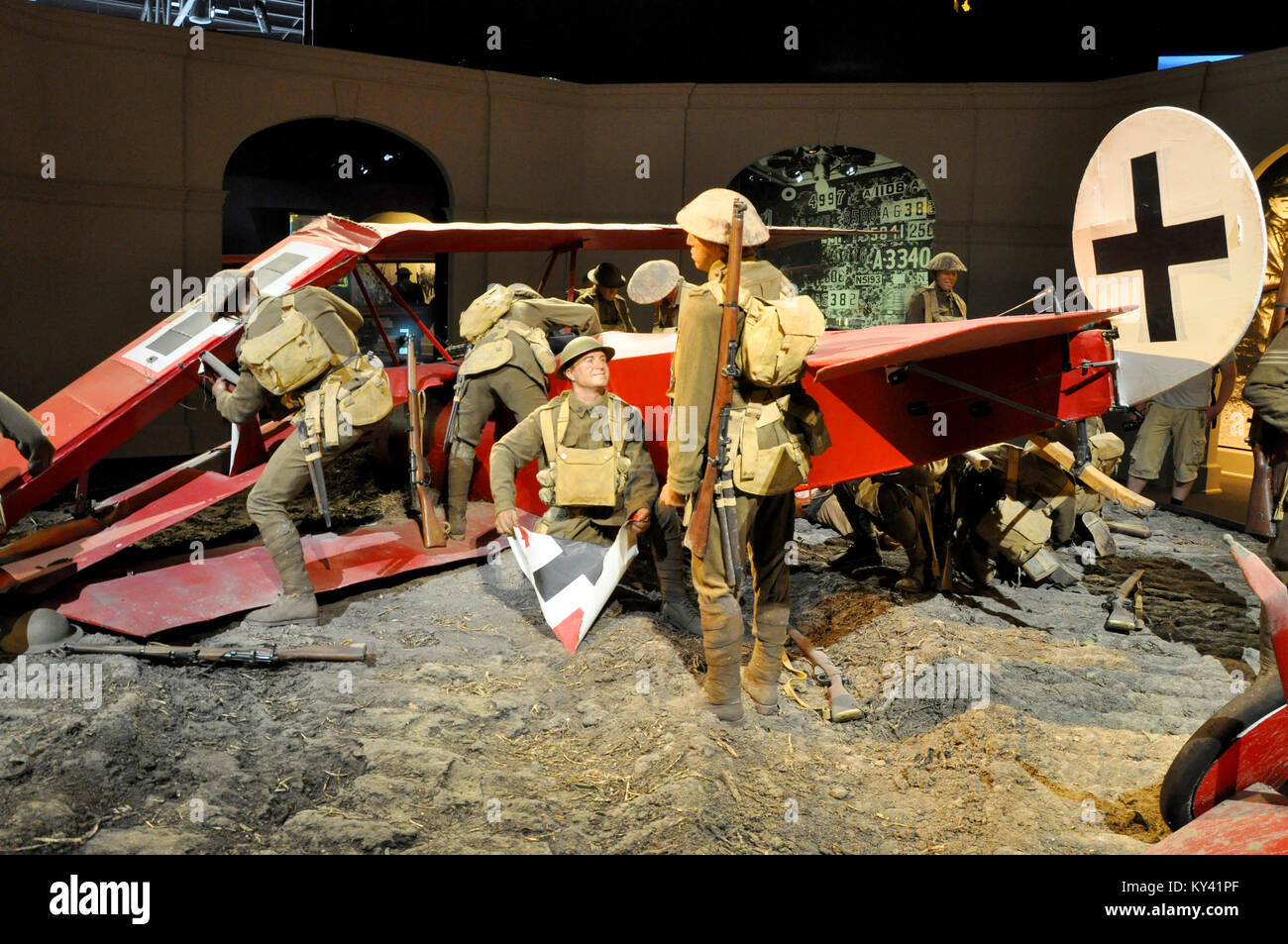 Red Baron crash scene in a Knights of the Sky diorama in Omaka Aviation Heritage Centre museum, South Island, New - Stock Image