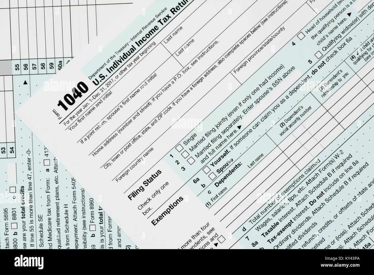Macro Close Up Of 2017 Irs Form 1040 Stock Photo 171579810 Alamy
