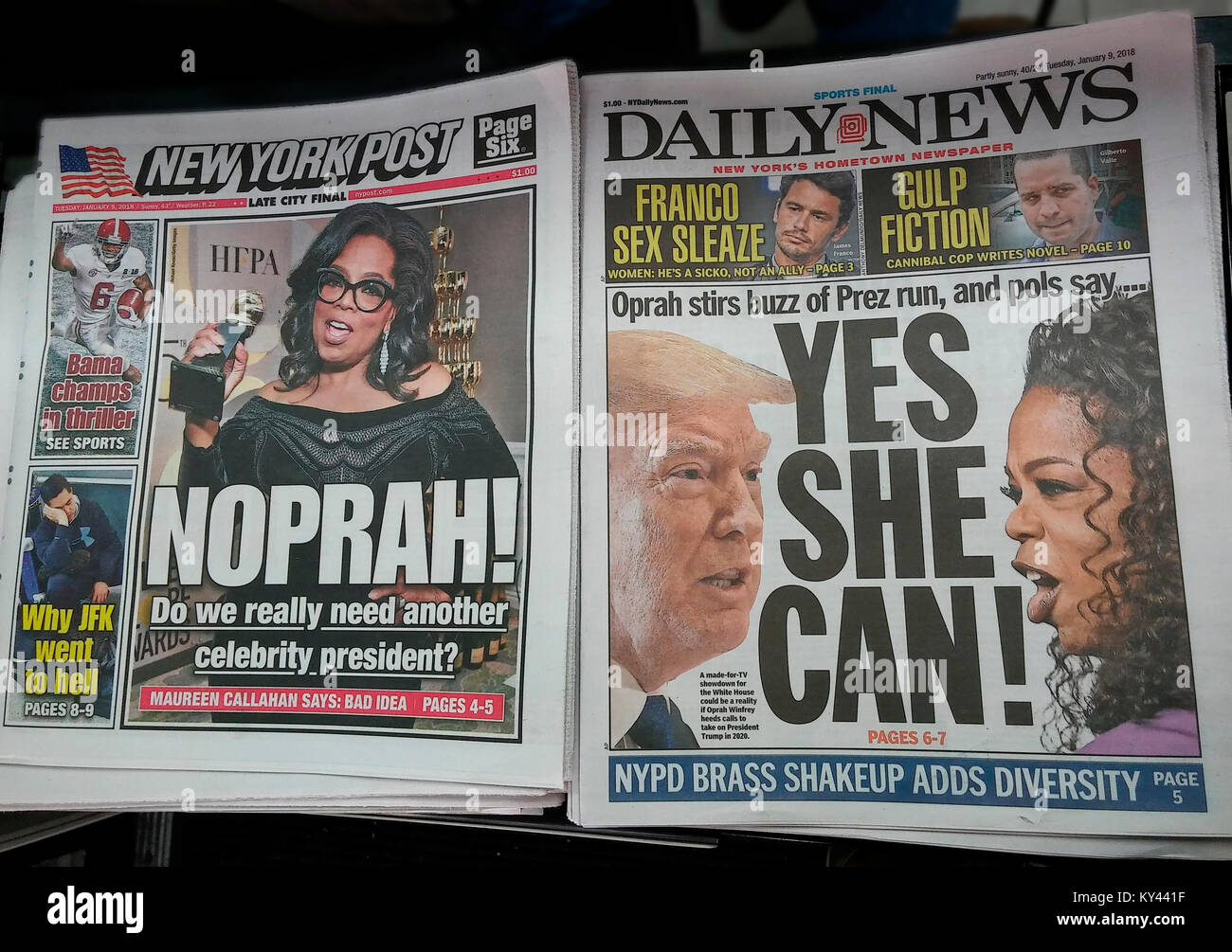 Headlines of New York tabloid newspapers on Tuesday, January 9, 2018 speculate on a presidential run by celebrity Stock Photo