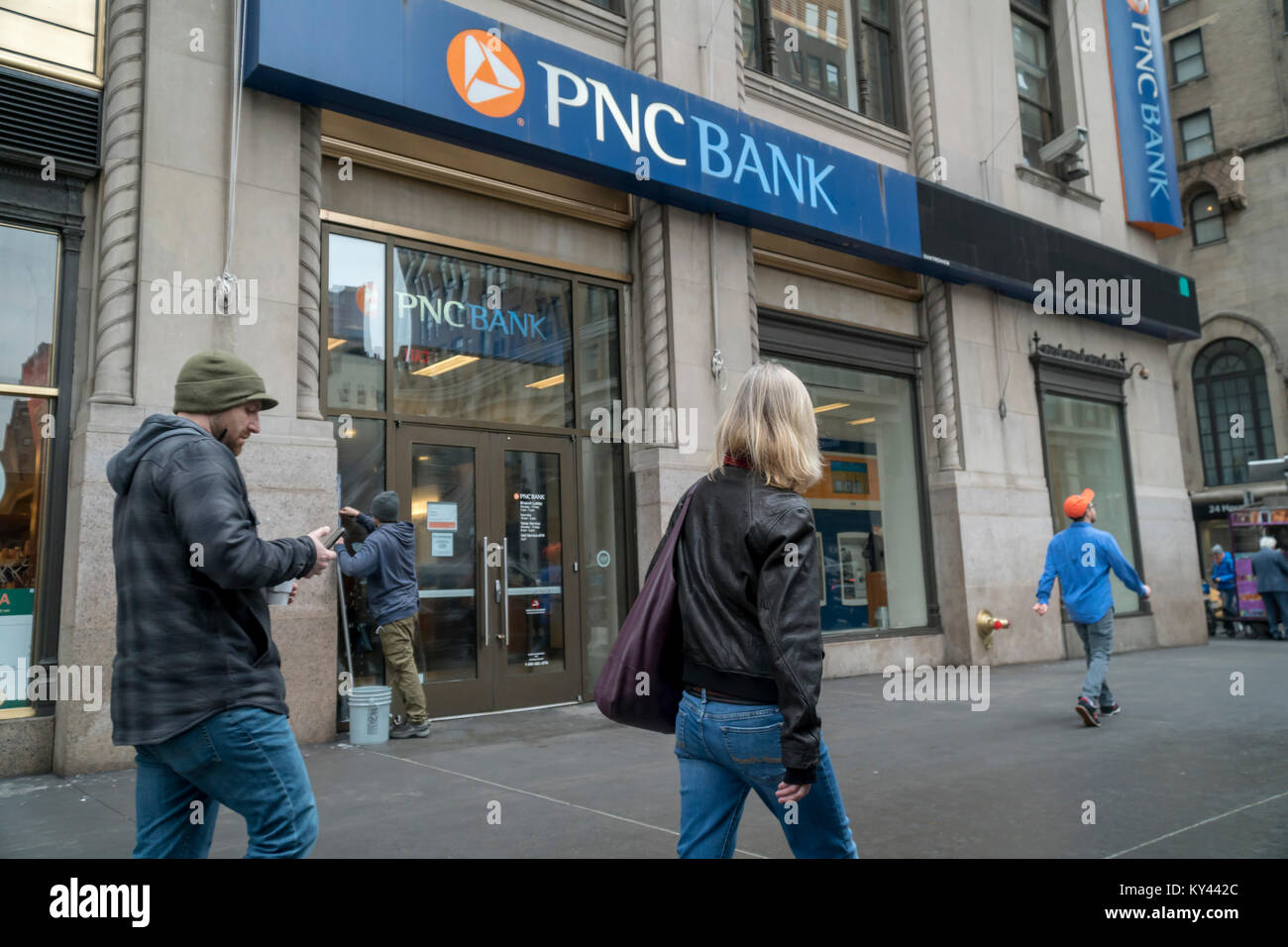 A branch of PNC Bank in New York on Thursday, January 11, 2018. PNC Financial Services Group, Inc. is scheduled - Stock Image