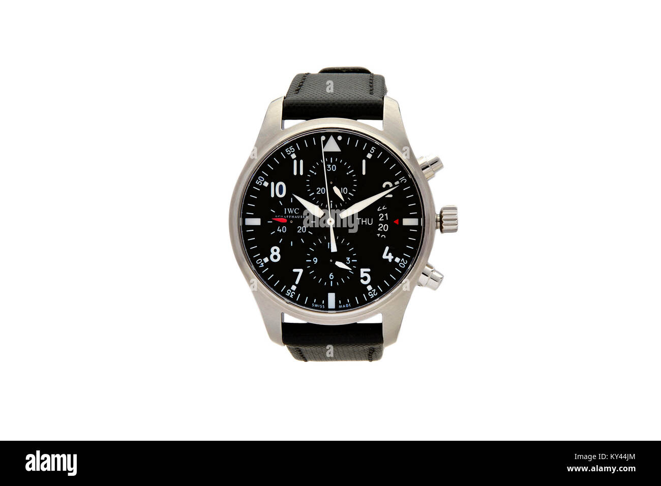IWC Chronograph stainless steel man's watch with black face and leather wrist band - Stock Image