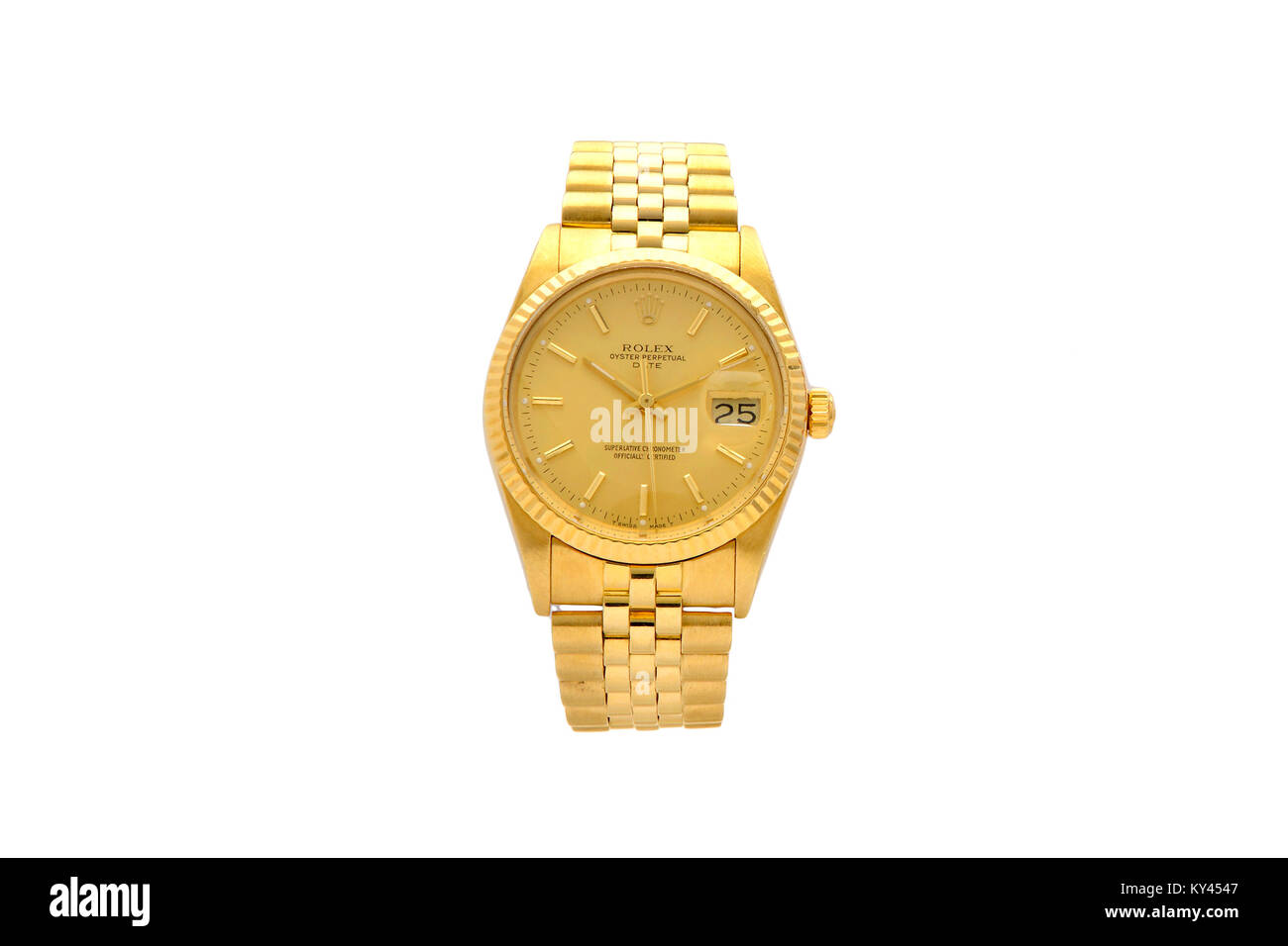 Rolex Oyster gold men's watch with gold face Stock Photo