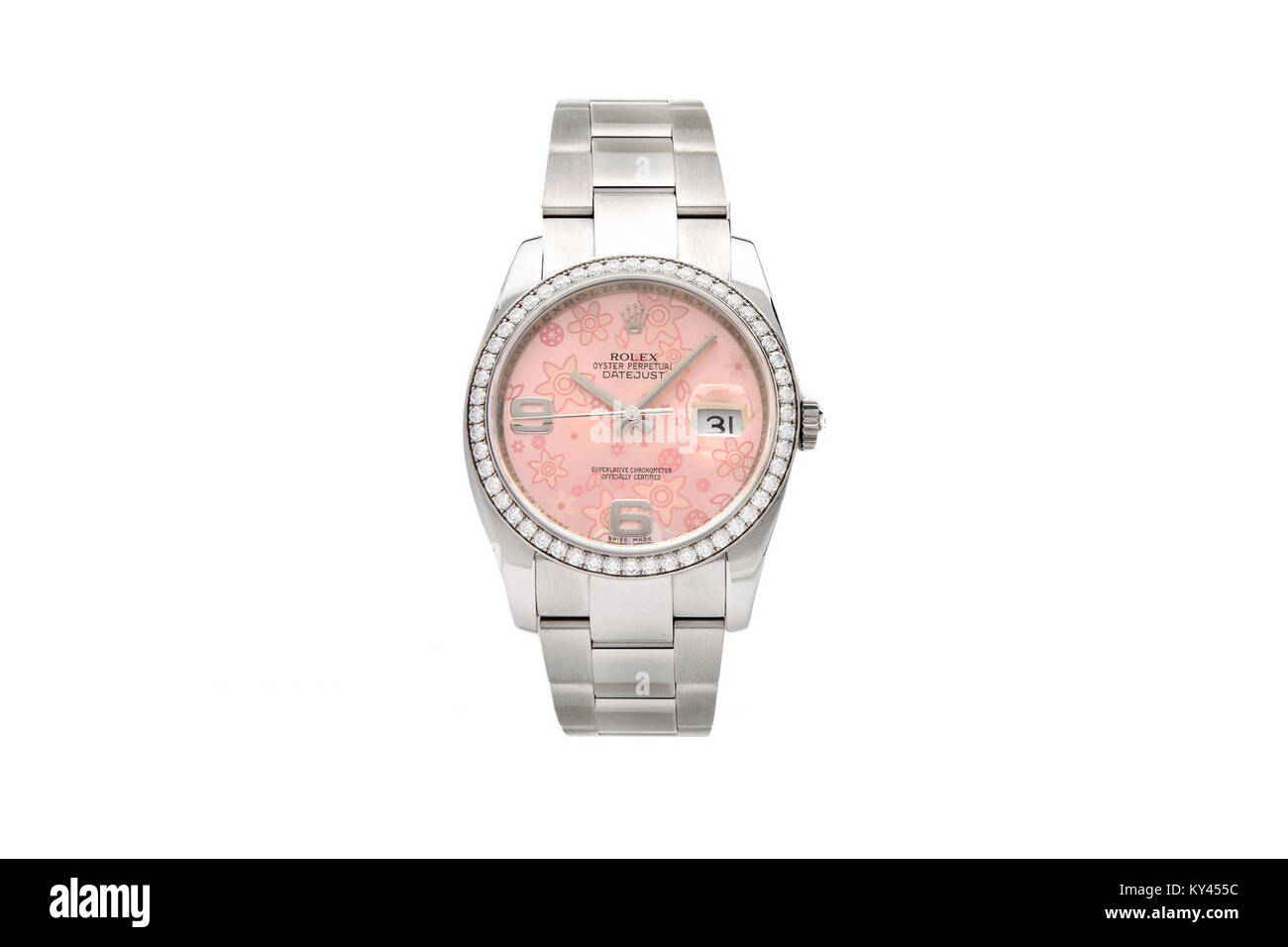 Rolex Oyster stailess steel ladies watch with pink face - Stock Image