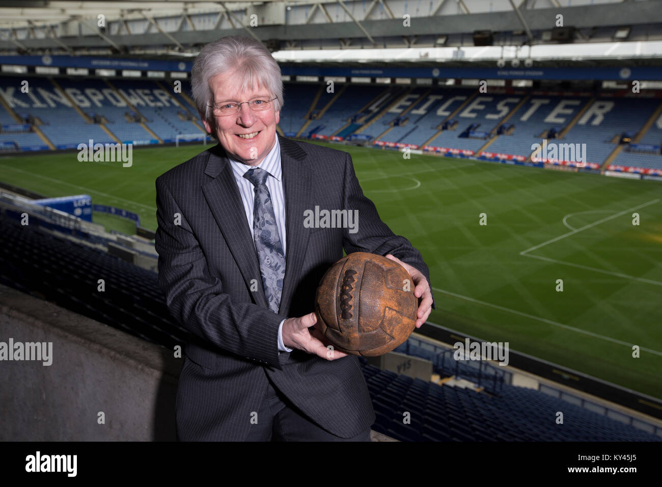 John Hutchinson, the club historian and archivist, pictured inside Leicester City's King Power stadium, holding Stock Photo