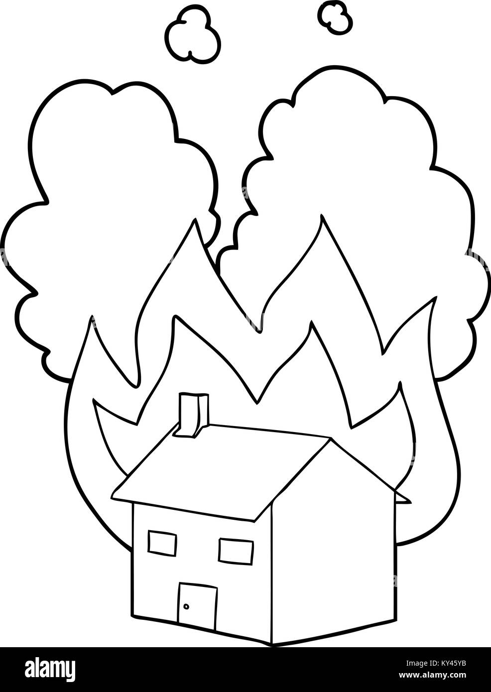 It is a photo of Monster Burning House Drawing