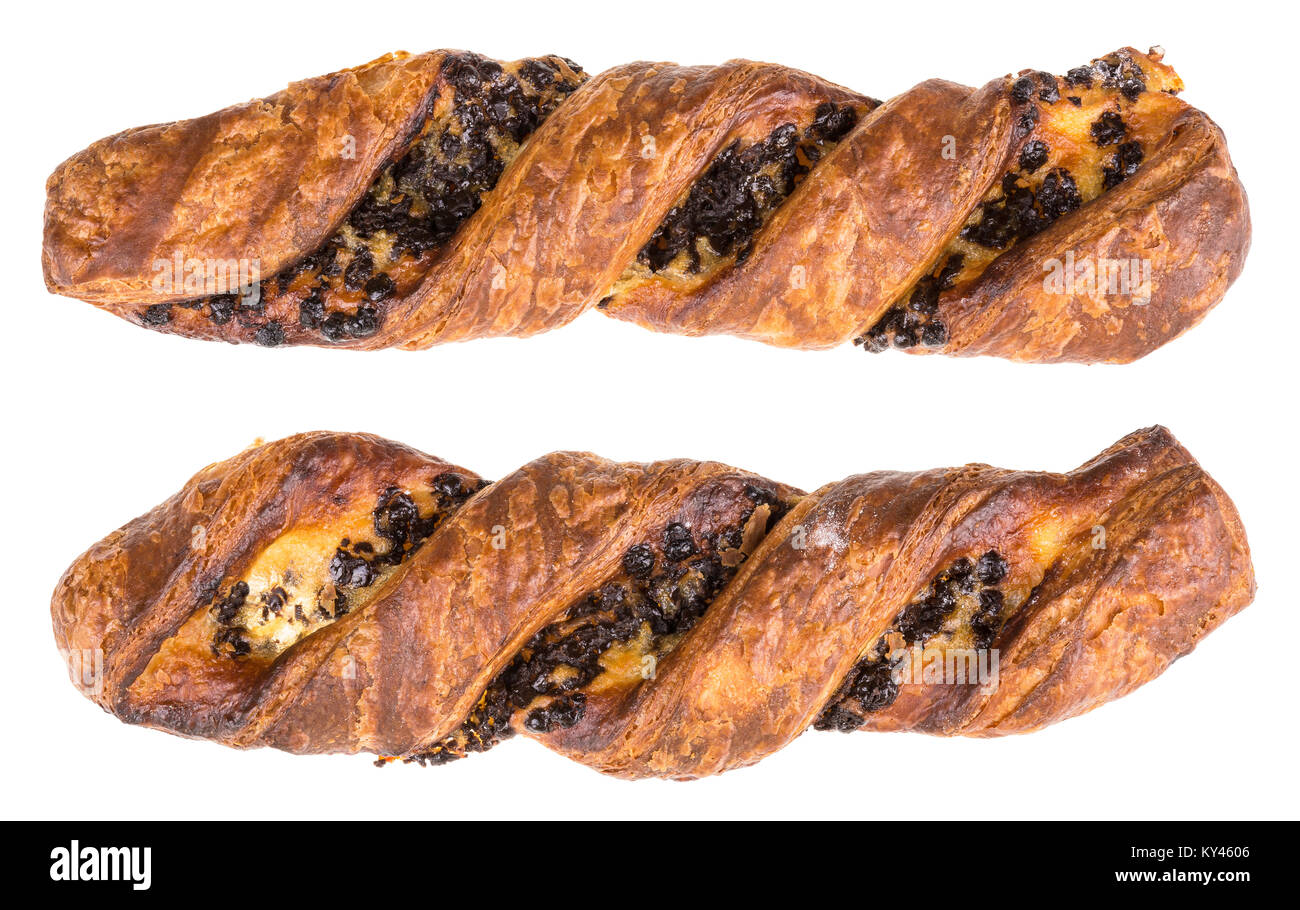 Delicious crispy breakfast of golden color. Two pieces of sweet scented pastries with chocolate filling. Isolated - Stock Image