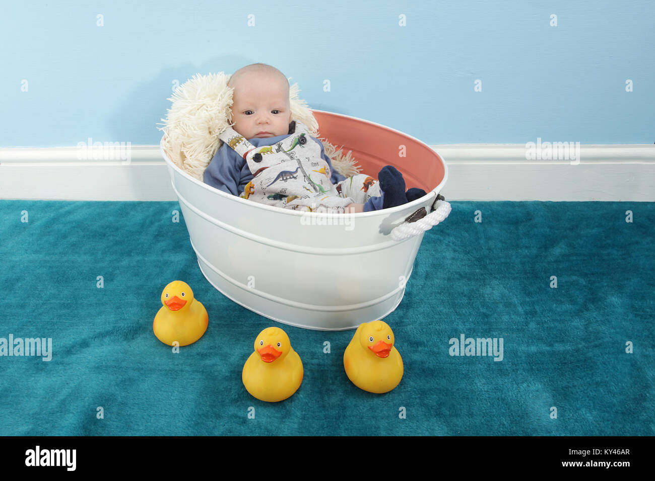 baby boy 2 months old relaxing in vintage tin bath tub Stock Photo ...