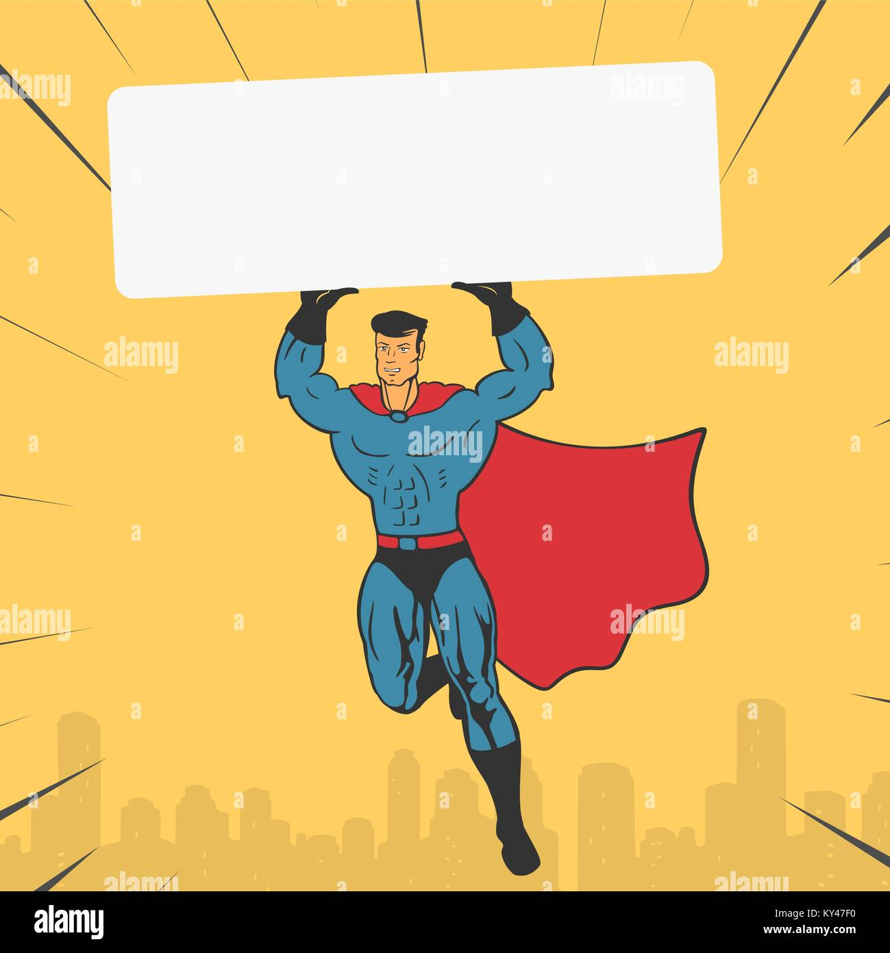 Template Super Hero holds a Banner - Stock Vector