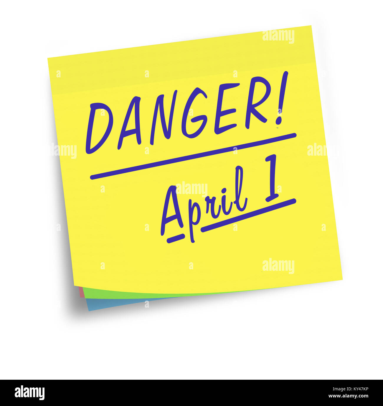 April 1st, Fools Day reminder. On white background. - Stock Image
