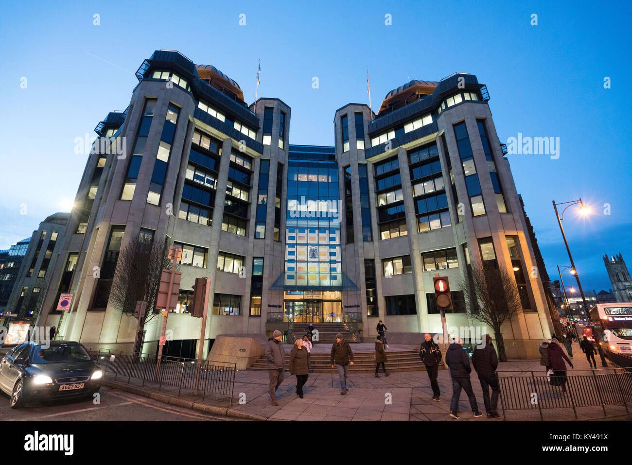Exterior evening view of Standard Life office building in financial district in Edinburgh West End, Scotland, United - Stock Image