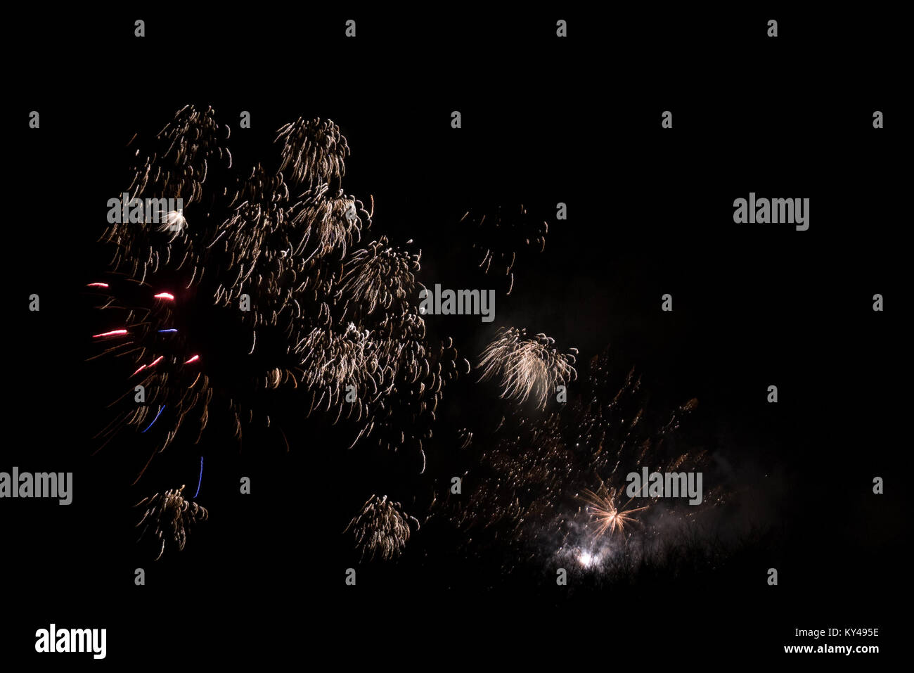 Fireworks, New Year 2017/2018, Denmark Stock Photo