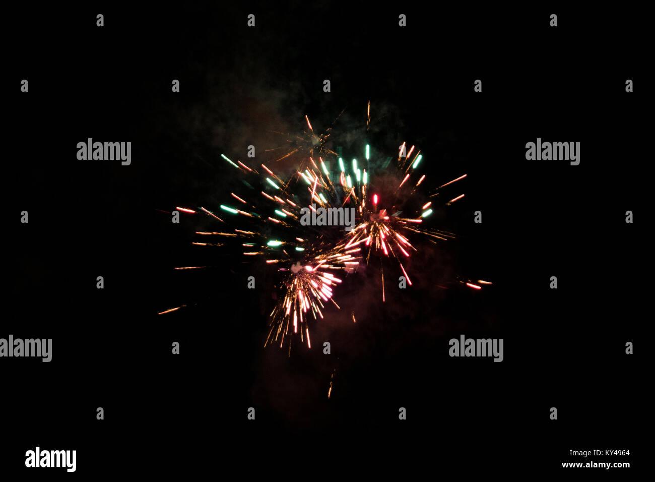 Fireworks, New Year 2017/2018, Denmark - Stock Image