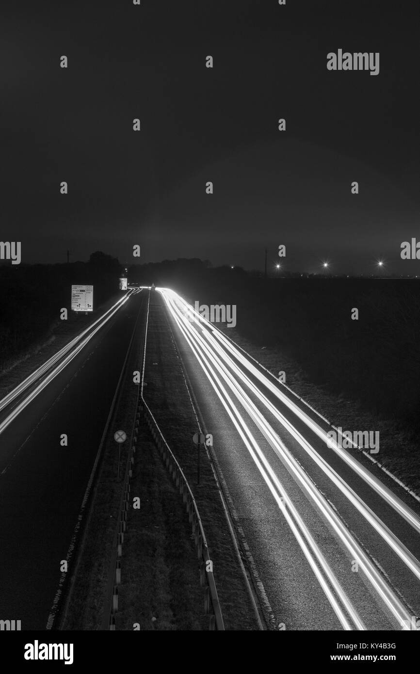 Light trails of the A189 - Stock Image