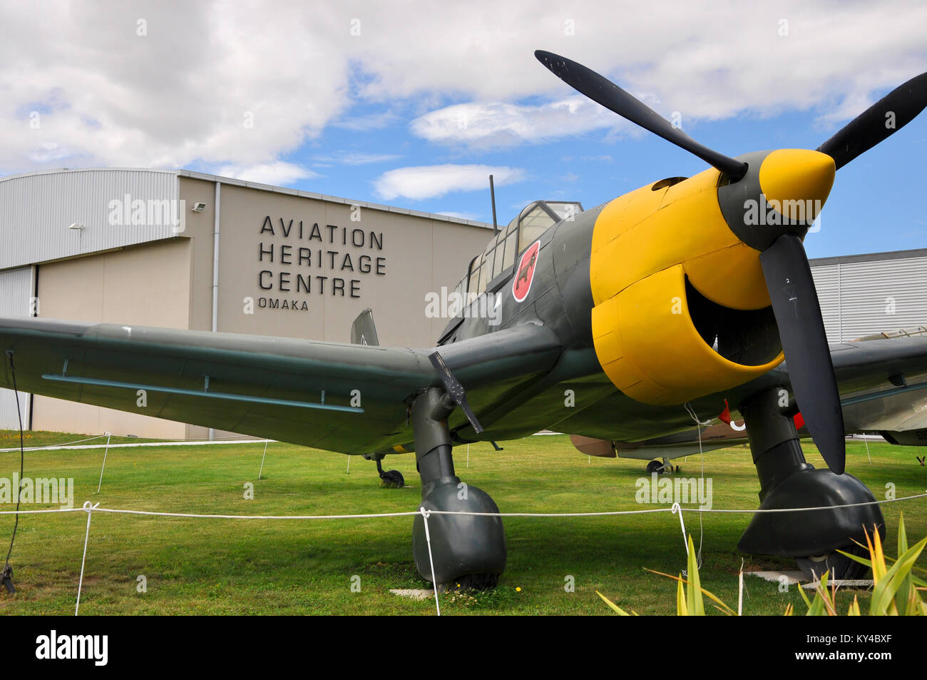 Omaka Aviation Heritage Centre museum, South Island, New Zealand. Junkers Ju-87 Stuka gate guardian - Stock Image
