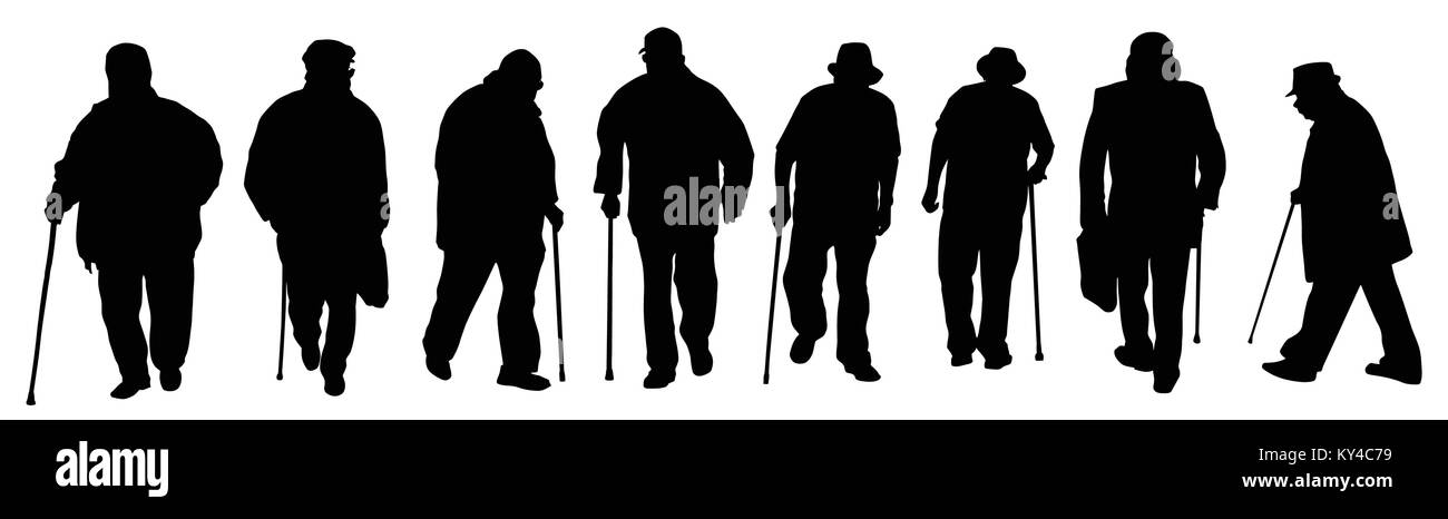 Eldery man silhouettes on a white background, vector illustration - Stock Image
