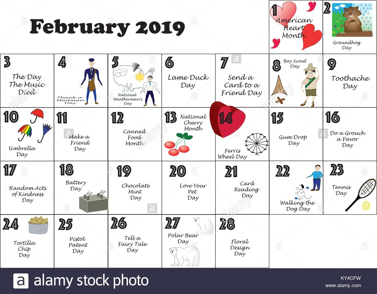 Calendar Celebrations 2019 February 2019 calendar illustrated and annotated with daily Quirky