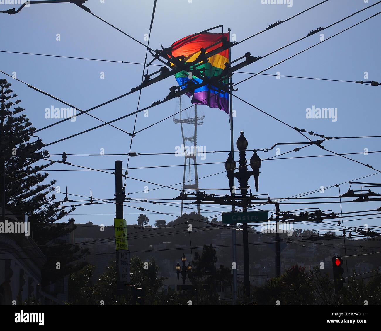 gay pride, Castro Street, San Francisco - Stock Image