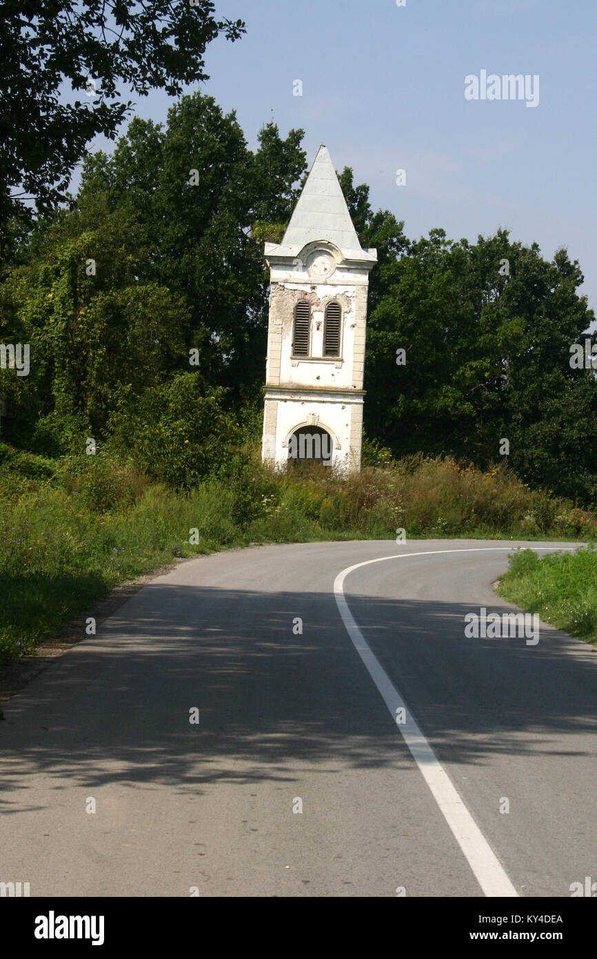 Croat church destroyed during the Croatian War of Independence, 1991 - 1995 Stock Photo