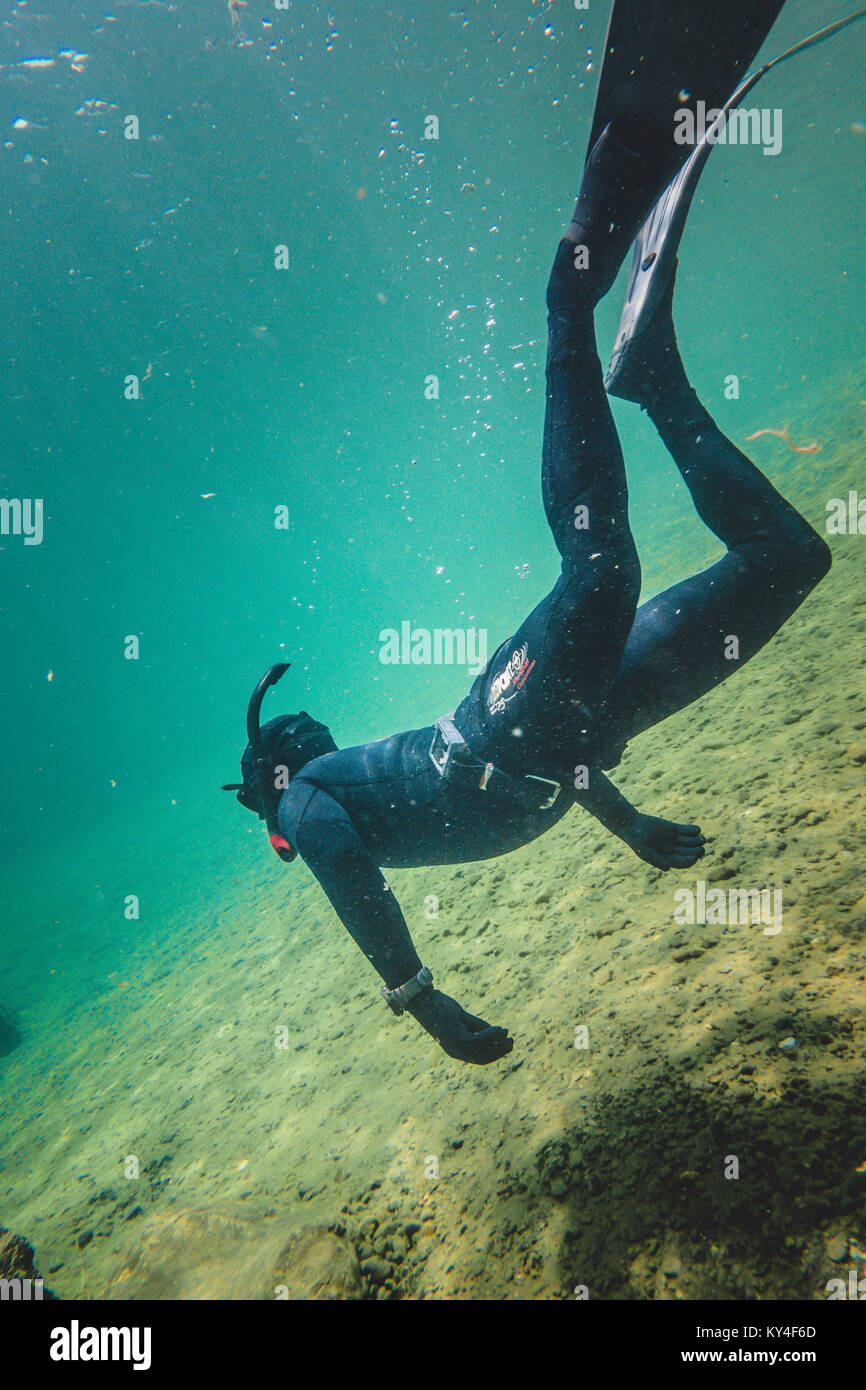 BONAVENTURE, CANADA _ JULY 19, 2017. Freediver Letting hiself go with the Strong Current of The Bonaventure River - Stock Image