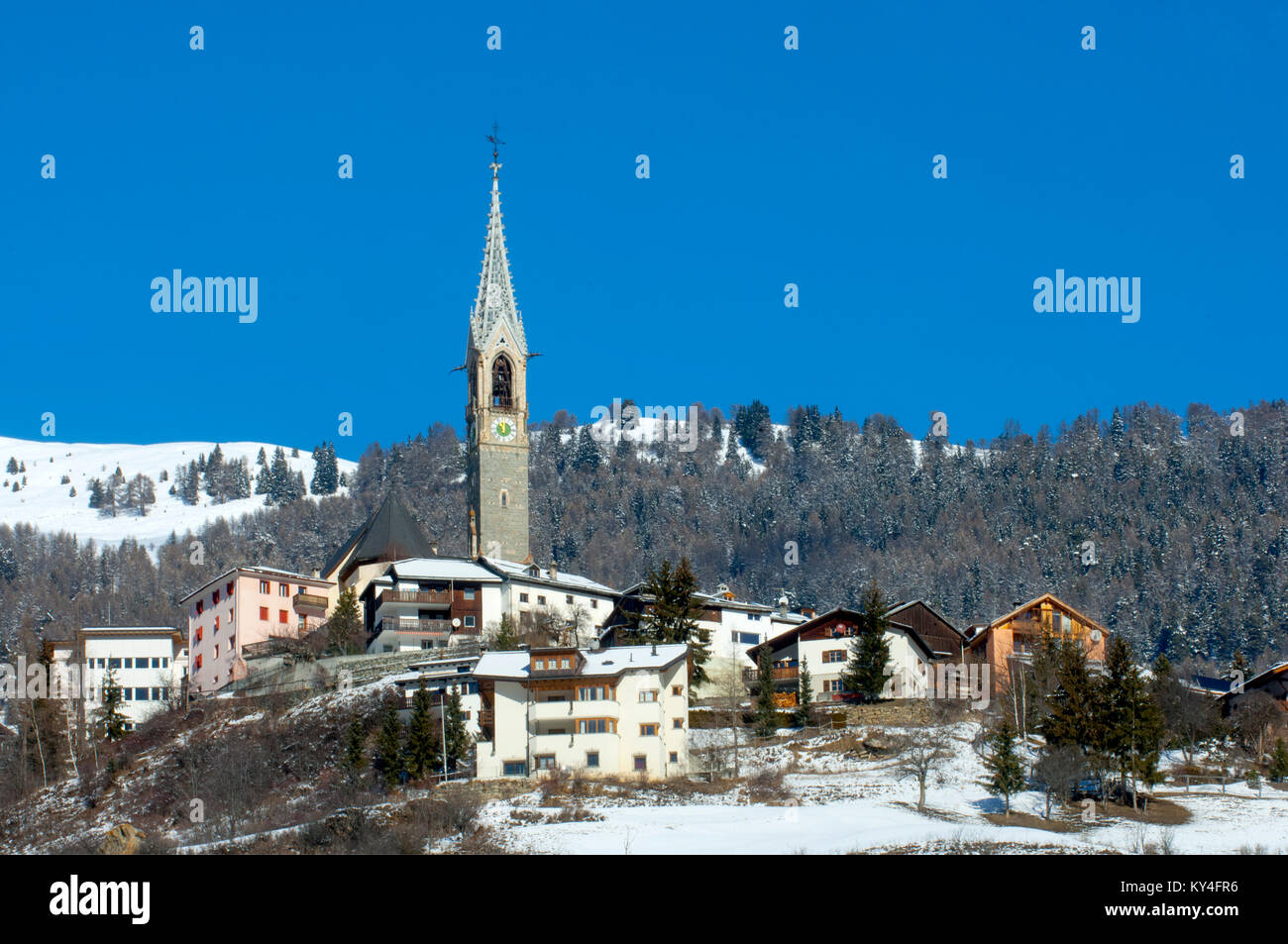 Schweiz, Engadin, Sent bei Bad Scuol, - Stock Image