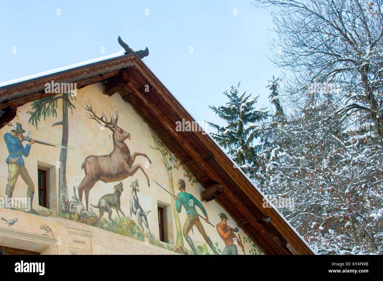 Schweiz, Engadin, Sent bei Bad Scuol, Chasa dal Chatchaders - Stock Image