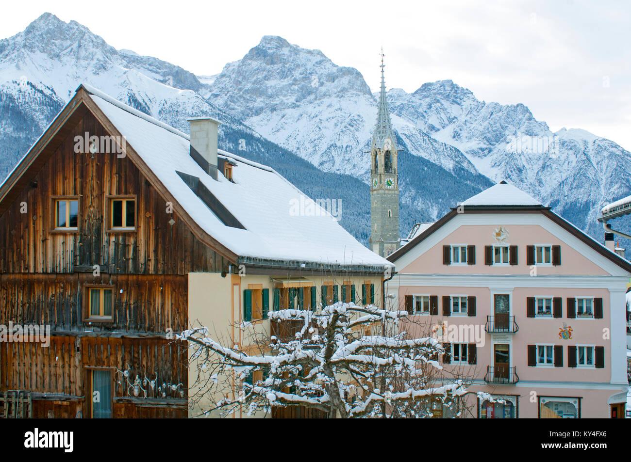 Schweiz, Engadin, Sent bei Bad Scuol, - Stock Image