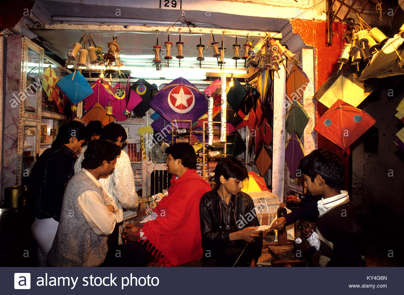 Magasin de cerfs volants a Jaipur, Rajasthan. *** shop in Jaipur, Rajasthan. Stock Photo