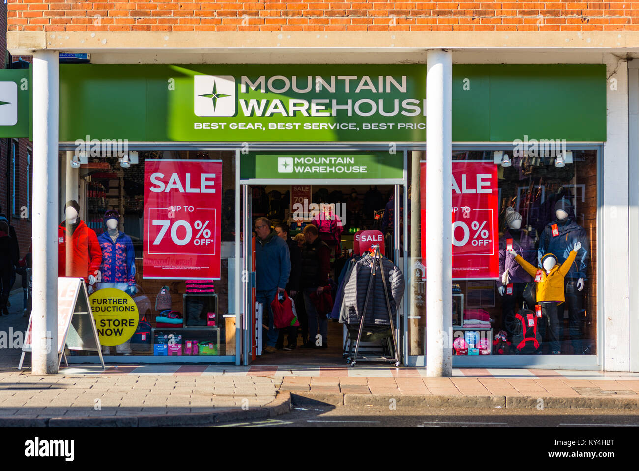 Mountain Warehouse storefront in Bury St Edmunds, Suffolk, England, UK. - Stock Image