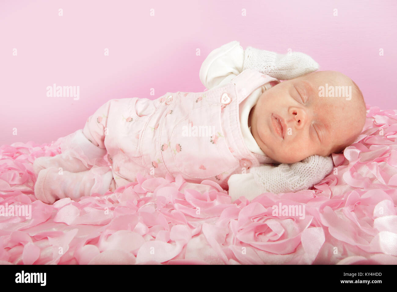 10 week old baby girl, small premature baby Stock Photo