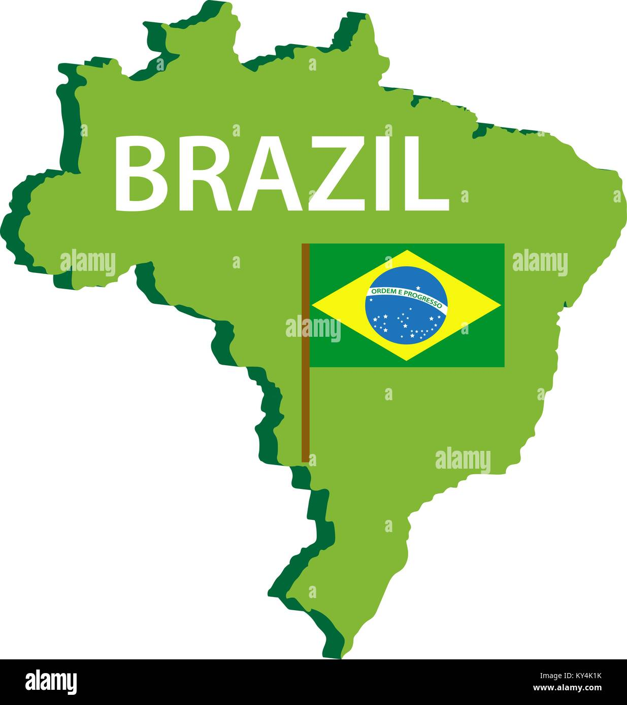 Map and flag of Brazil icon. Isolated on white background ...