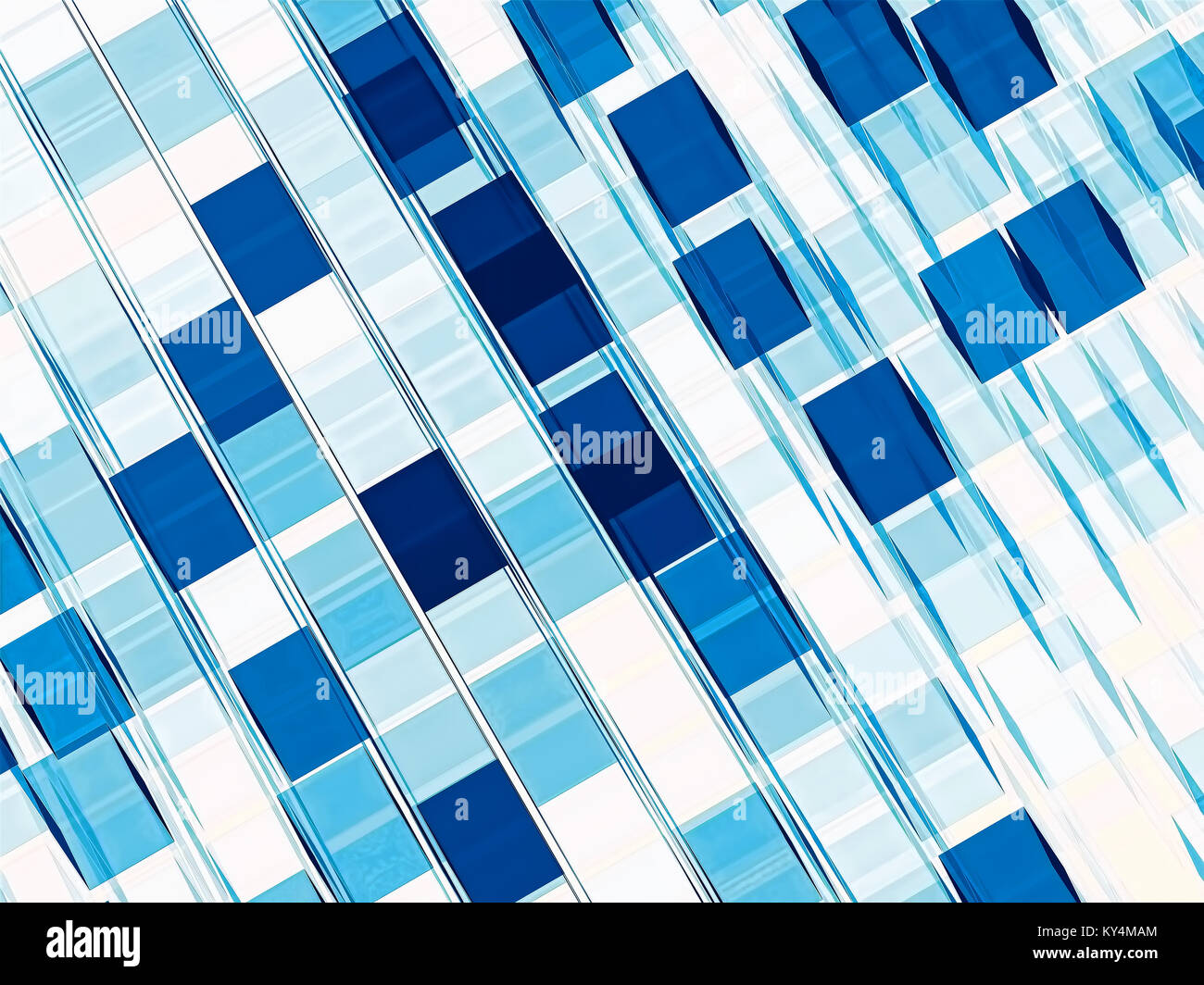 White and blue technology style backgroud. Simple abtract computer-generated checkered backdrop. Graphic design - Stock Image