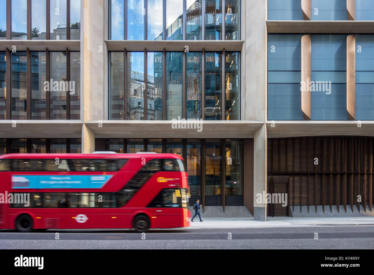 Red London bus and Bloomberg London, Bloomberg's new European headquarters by Norman Foster Foster + Partners, City - Stock Image