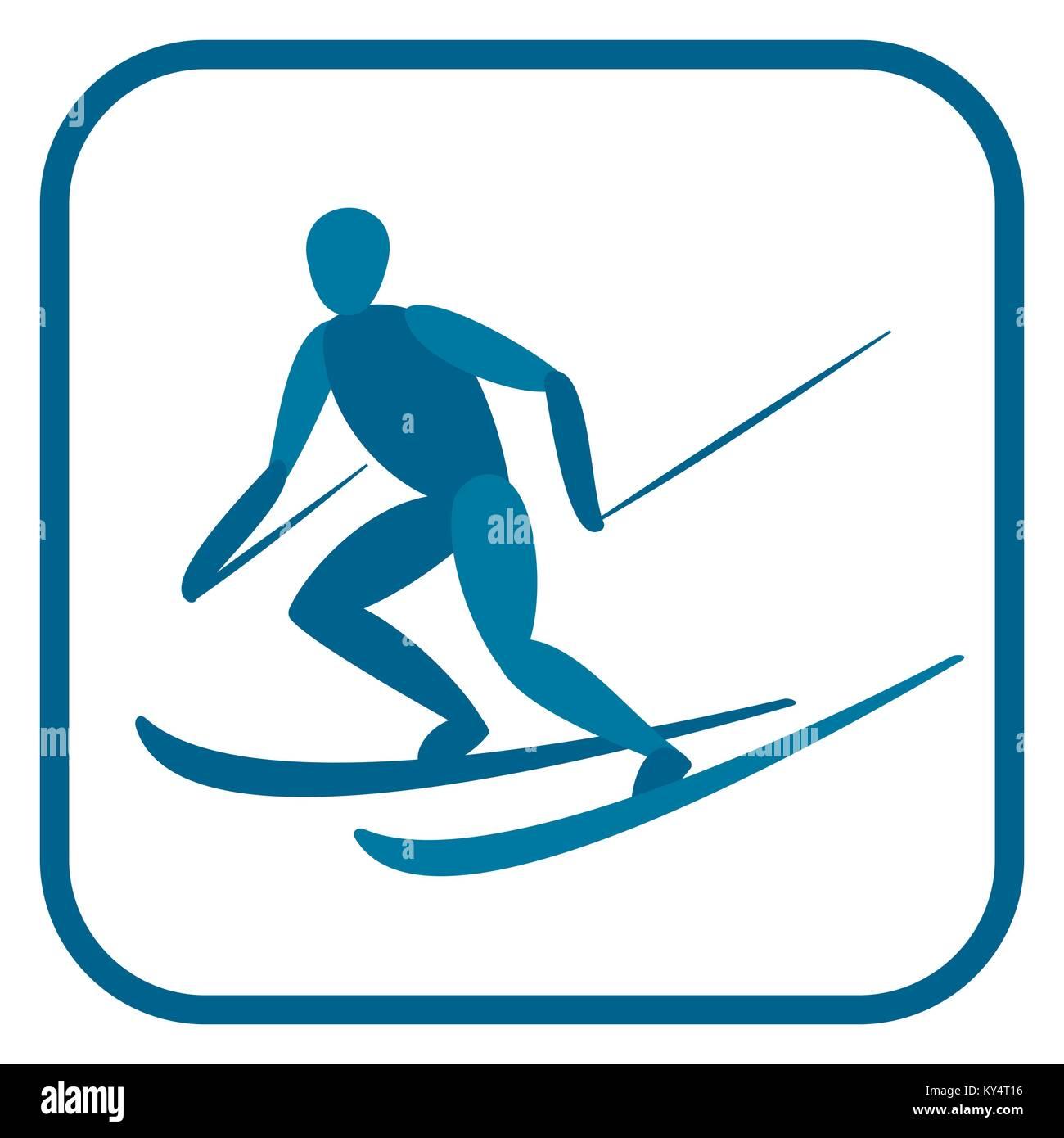 Alpine skier emblem. Stock Vector